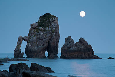 Moonset In Gaztelugache Art Print by Pere Soler