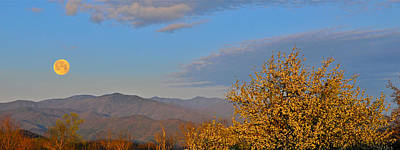 Photograph - Moonset Over Smokies by Alan Lenk
