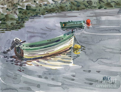 Painting - Moored Boats by Donald Maier