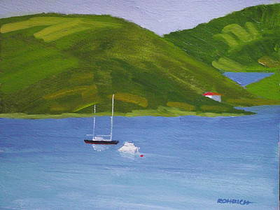 Moored Ketch At Hassel Island Art Print by Robert Rohrich