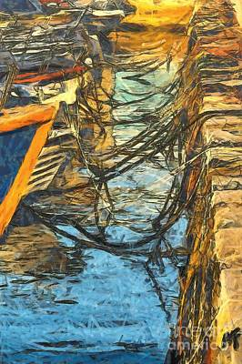 Boat Painting - Moorings by Dragica  Micki Fortuna