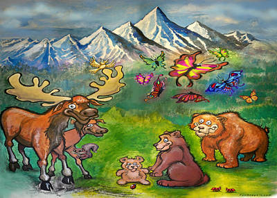 Mountain Painting - Moose And Bears by Kevin Middleton