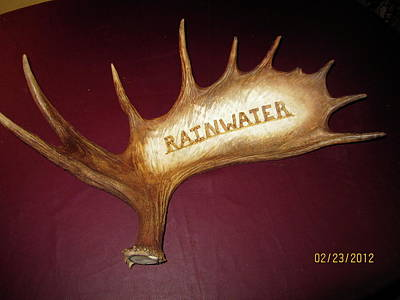 Pyrography - Moose Antler Plaque by Adam Owen