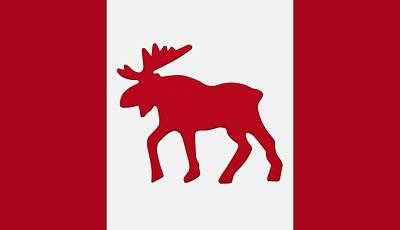Target Threshold Nature - Moose Emblem On Canadian Flag by Darren Greenwood