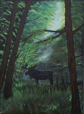 Painting - Moose In Pines by Leslie Allen