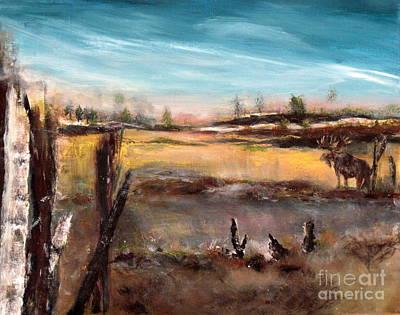 Painting - Moose Landscape by France Laliberte