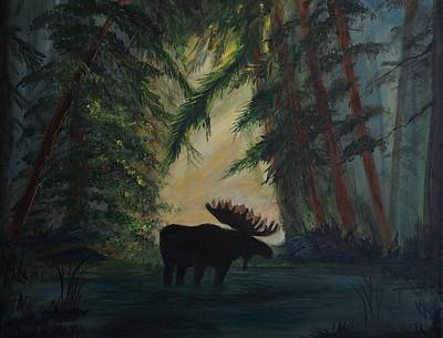 Painting - Moose Pond Hideout by Leslie Allen