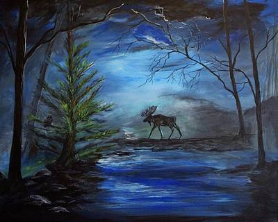 Painting - Moose Pond by Leslie Allen