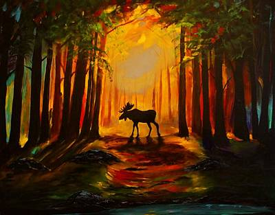 Painting - Moose Sunset by Leslie Allen