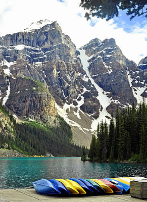 Canoes Photograph - Moraine Lake by Lisa Phillips