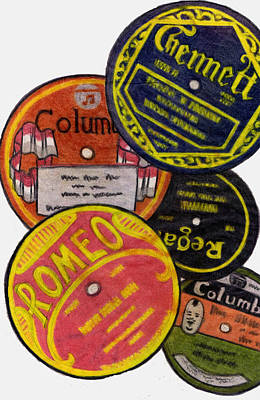 Disc Drawing - More Old Record Labels  by Mel Thompson