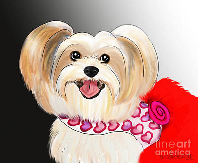 Mixed Media - Morkie Valentine  by Catia Lee