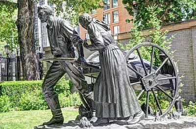 Mormon History - Hand Cart Statue Art Print by Gary Whitton