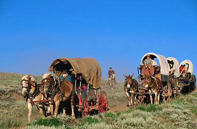 Mormons On Horse Carriages, Mormon Pioneer Wagon Train To Utah, Near South Pass, Wyoming, United States Of America, North America Art Print by Holger Leue
