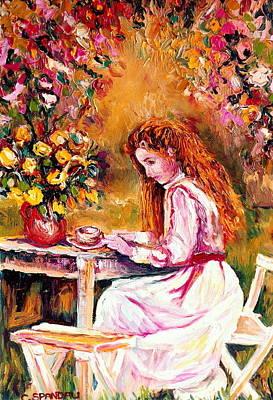 Morning Coffee In The Garden Westmount Quebec Summer City Scene Montreal Art Art Print