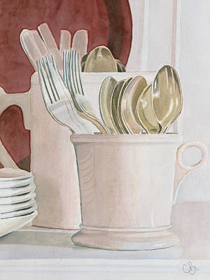 Morning Light Drawing - Morning Kitchen by Chris Blair