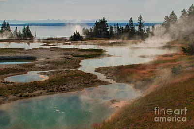 Steam Photograph - Morning Light At West Thumb Basin by Charles Kozierok