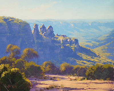 Mountain Royalty-Free and Rights-Managed Images - Morning Light Three Sisters by Graham Gercken