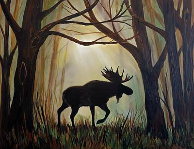 Painting - Morning Meandering Moose by Leslie Allen