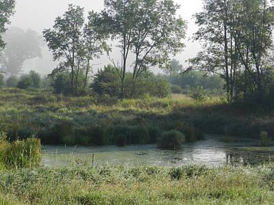 Morning Mist On Marsh Art Print by Dennis Leatherman