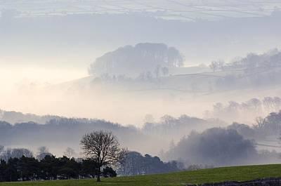 Morning Mist Over Farmland Art Print