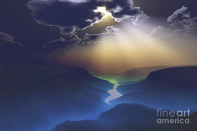 Morning Mist Surrounds The Mountains Art Print by Corey Ford