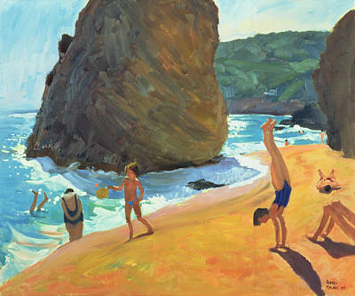 Spain Painting - Morning Platja Dos Rosais Costa Brava by Andrew Macara