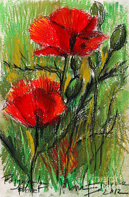 Morning Poppies Print by Mona Edulesco