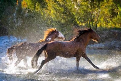 Wyoming Painting - Morning Run by Janet Fikar
