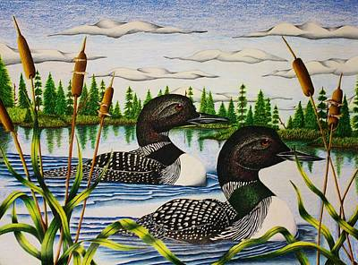 Loon Drawing - Morning Swim by Bruce Bley