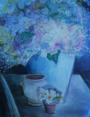 Morning Table Bouquet And Cups  The Cropped Version Art Print by Anne-Elizabeth Whiteway