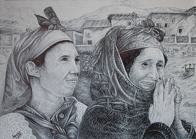Moroccan Drawing - Moroccan Peasant by Fouad Laaniz