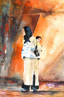 Painting - Moroccan Woman Carrying Baby by Miki De Goodaboom