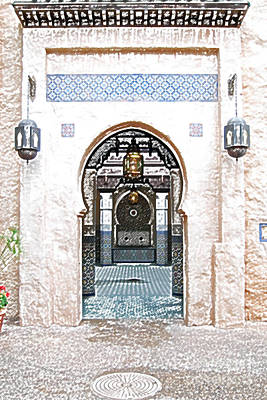 Digital Art - Morocco Pavilion Doorway Lamps Courtyard Fountain Epcot Walt Disney World Prints Colored Pencil by Shawn O'Brien
