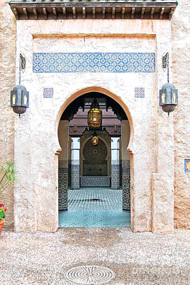 Digital Art - Morocco Pavilion Doorway Lamps Courtyard Fountain Epcot Walt Disney World Prints Ink Outlines by Shawn O'Brien