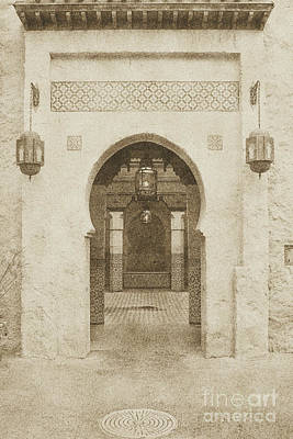 Digital Art - Morocco Pavilion Doorway Lamps Courtyard Fountain Epcot Walt Disney World Prints Vintage by Shawn O'Brien