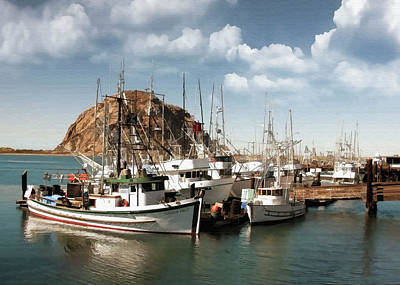 Digital Art - Morro Bay Harbor by Sharon Foster