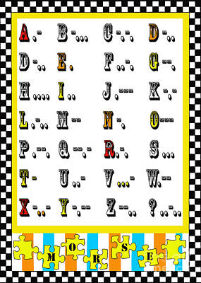 Anahi Decanio Mixed Media - Morse Code Alphabet Juvenile Licensing by Anahi DeCanio