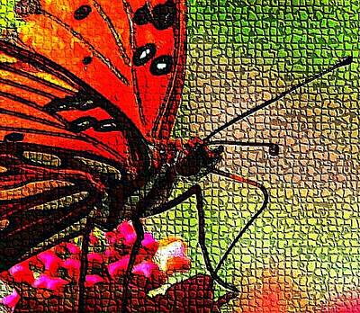 Digital Art - Mosaic Butterfly by Carrie OBrien Sibley