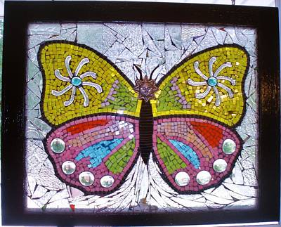 Glass Art - Mosaic Butterfly by Liz Lowder