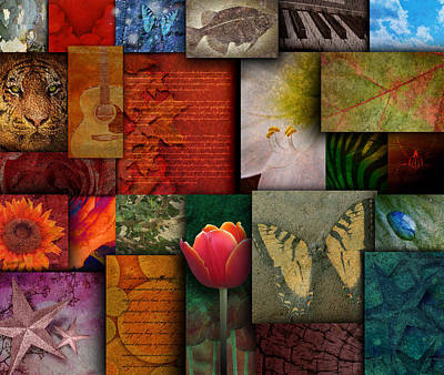 Mosaic Earth Tone Nature Rough Patterns Art Print by Angela Waye