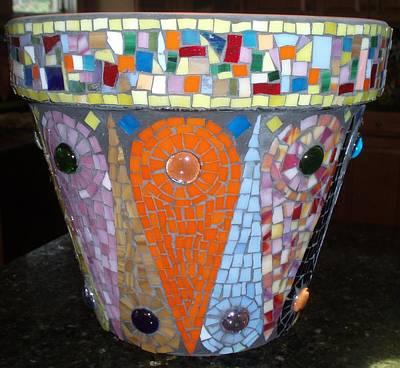 Glass Art - Mosaic Flower Pot by Liz Lowder