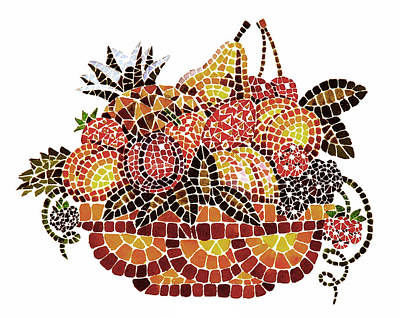 Mosaic Fruits Art Print