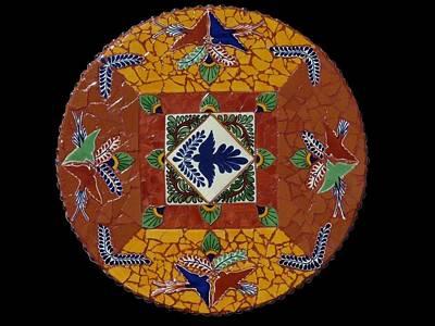Tableware Mixed Media - Mosaic Lazy Susan With Talavera Tiles by Katherine Sutcliffe