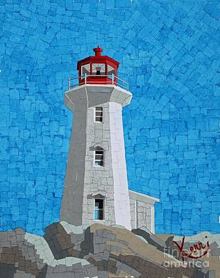 Mosaic Lighthouse Print by Kerri Ertman