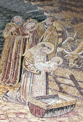 Mosaic Nativity Scene At Nativity Church Print by Munir Alawi