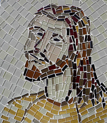 Mixed Media - Mosaic Of Jesus by Lou Ann Bagnall