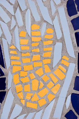 Handcrafted Photograph - Mosaic Yellow Hand by Carol Leigh