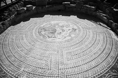 Mosaics On The Floor Of The House Of Theseus Roman Villa At Paphos Archeological Park Cyprus Art Print by Joe Fox