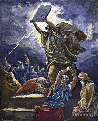 Drawing - Moses Breaking The Tablets by Gustave Dore
